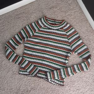 FREE PEOPLE Multicolor Striped Long Sleeve Top XS